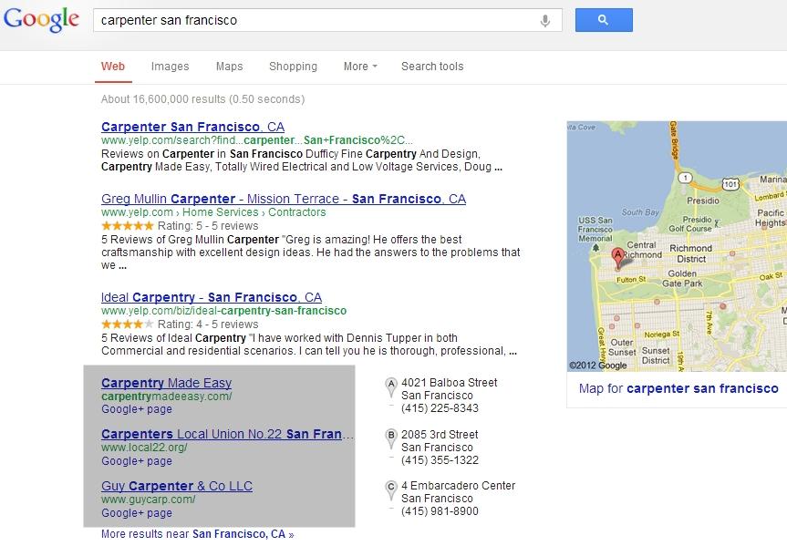 """Zadejte do Google """"carpenter san francisco"""". Na prvních příčkách se vám zobrazí stránky s Google+ profilem."""